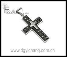Spikes 316L Stainless Steel Layered Black IP Multi Studs Cross Pendant