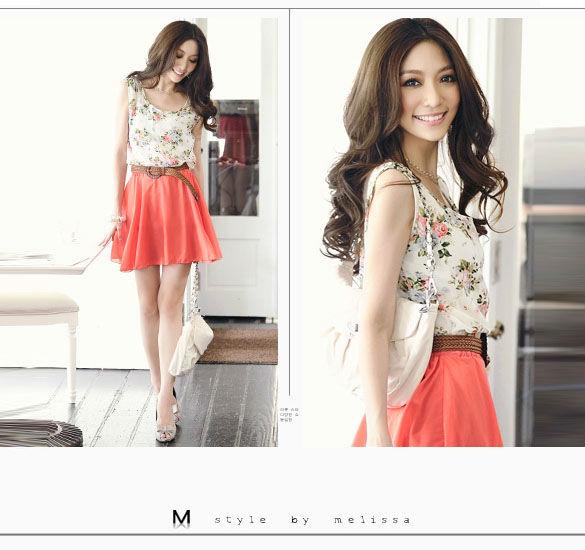 2014 Women's Flower Floral Pattern Sleeveless Chiffon Comfort Summer Mini Dress without belt ...