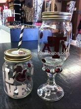2015 fashion clear glass mason jars with drinking straw