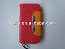 Book style leather wallet cellphone case for Iphone5 5G Factory price
