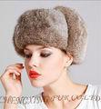 Cx-c-26a da donna grigio pieno russo cappello di pelliccia di coniglio