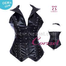 2013 New Style Black Plus Size Steel Boned Corset Bustiers Black Leather Corset For Fat Women