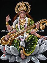 Goddess Saraswati EThnic Attractive Velvet Oil Painting Wall Hanging