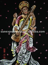Goddess Saraswati Velvet Oil Painting Wall Hanging