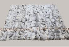 Cx-d-11 colore naturale lavorato a mano pelliccia del coniglio tiro coperta