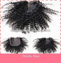 Fashional Hair Mongolian Kinky Curly Hair Top Lace Closure 100% Virgin Human Hair Grade 5a Factory Price