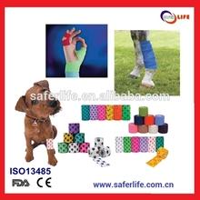 2015 pet sports hand l self-adhesive gauze bandage TEARABLE wholesale puppy dog Cohesive tape roll