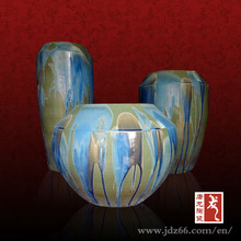 2013 new design Jingdezhen hand made ceramic blue glazed flower pots for house decoration