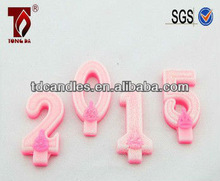 2014 new product of White & pink glitter birthday/Anniversaries wax number candle