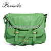 Green Fashion Leather Satchel shoulder Woman Cross Body Bag with flap closure