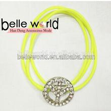 neon yellow tiara rhinestone hair elastic