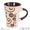 Buena calidad de color gris de la taza de gres con un diseño en espiral 12oz cono- forma