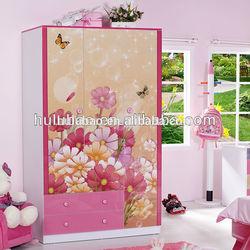 Latest fashion design kids cloth wardrobe furniture with 3 door