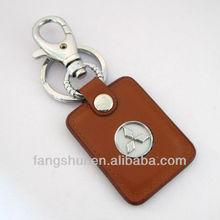 High quality car leather key chain/brown rectangular logo leather keychain handicraft