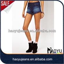 2013 nuevo estilo azul corta para mujer pantalones vaqueros pantalones de talle alto pantalones cortos de mezclilla( hys445)