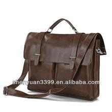 Vintage Tan Leather Brown Briefcase Messenger Bag