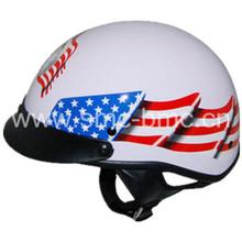 DOT black outlaw red flames half face helmet