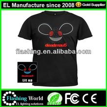 High brightness 100% cotton sound activated led light el t-shirt