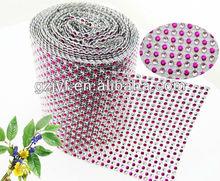 top fashion 24row sew-on Plastic Rhinestone Mesh Trimming banding roll For decoration