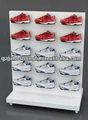 tienda zapato blanco brillante capa de polvo de metal de zapatos de madera estante de exhibición