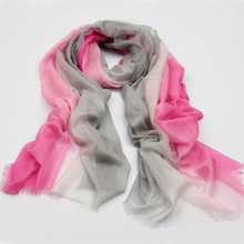 Graduation Color Fine Wool Shawl in Fuchsia Color Soft Hand Feel