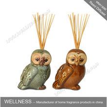 Hotsale bird en forma de búho de cerámica para difusor de la caña con palos