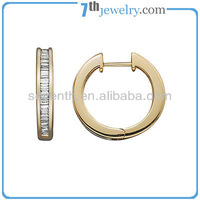 Fashionable Hoop Earring Design with 18K Gold Plated Channel Setting CZ Diamond