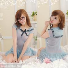 US1691 Wholesale Dropship Blue Transparent Japan Sex School Girl