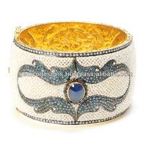 Pave Set Diamond Cuff Bangle, Blue Sapphire Gemstone Victorian Bangle Jewelry, Real Seed Pearl Gold Bangle Jewelry
