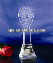 Badminton sporting crystal trophy customized design