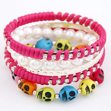 Fashion friendship skull fabric elastic bracelet