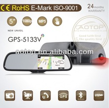 GPS-5177V Mirror GPS Navigation with High Resolution Camera DVR,different Country Map,Bluetooth,FM Transmitter,MP3,MP4,MP5