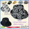 ningbo lsf33 lingshang hermosa flor de tela de lentejuelas fedora de lujo de diseño baratos sombreros de copa