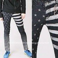 jsa0106 print American flag denim sapndex skinny jeans