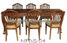 Antique Dining Table and Six Chair Teak Wood in Walnut