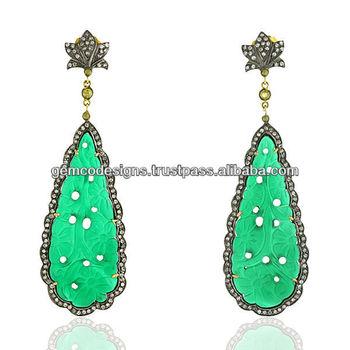 Green Onyx Carved Pear Shaped Earrings Jewelry