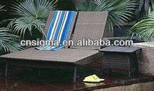2014 Outdoor Furniture PE Rattan Double Chairs Sun Lounger beach sun bed