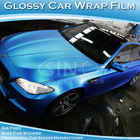 Glossy Pearl Blue Car Body Wrapping Vinyl/Glossy Car Color Changing Vinyl Film With Air Bubble Free 1.52x30M
