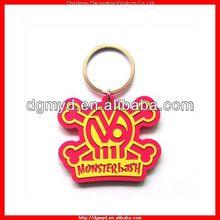 bright color skull shape 2D soft pvc key chain for Halloween gift item (MYD-2224)
