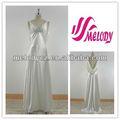 trecho de seda imitado cetim branco elegante vestido de noite de moda