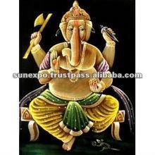 "Indian God LordGanesha Ganesh Yoga Handmade Deity Art Oil Painting on Velvet Fabric Wall Decor Hanging 28"" X 22"""