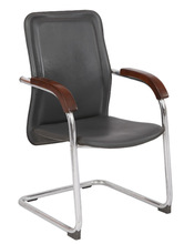 medium back executive chair in office with wood and leather material