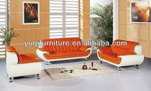 2013 new design, 1st layer yellow cattle orange leather sofa classic 1+2+3 sofa set, hot sale high back sofa 602-30
