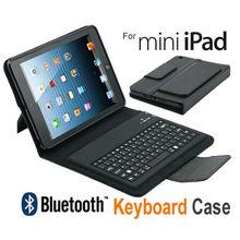 Hot Selling!!!Bluetooth Keyboard Leather Case for iPad Mini