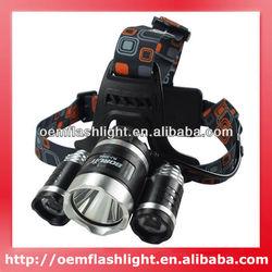 BORUIT RJ-3000 3 x Cree XM-L T6 4-Mode 3000 Lumens Headlamp with Charger