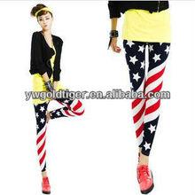 Hot Selling Yoga Zumba Running Fashion Womens Ladies Sexy Slim Print USA American Flag Leggings