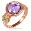 Women's Amethyst Gemstone Pink Gold Plated 925 Sterling Silver Ring