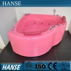 HS-B1807T acrylic corner apron pink color heart shaped bathtub for two person