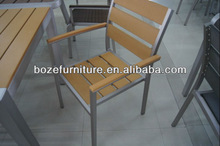 aluminum brushed polywood stackable arm chair / dining chair