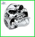 de acero inoxidable decorada el día de los muertos de azúcar de ancho del cráneo anillo fundido